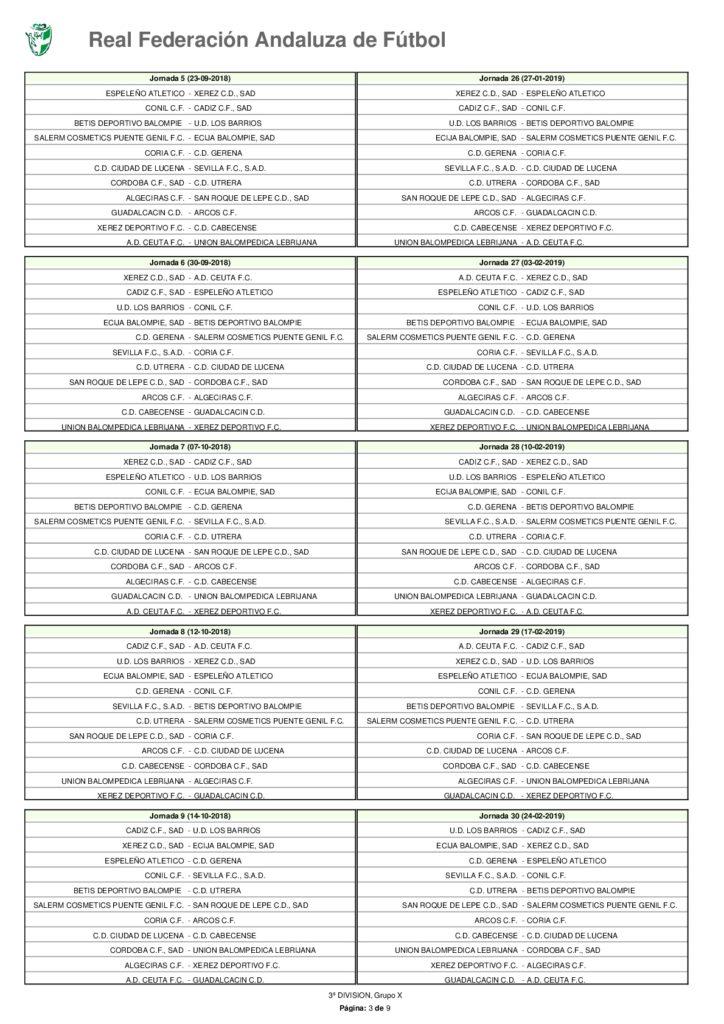 Calendario Tercera Division.Calendario Grupo X Tercera Division
